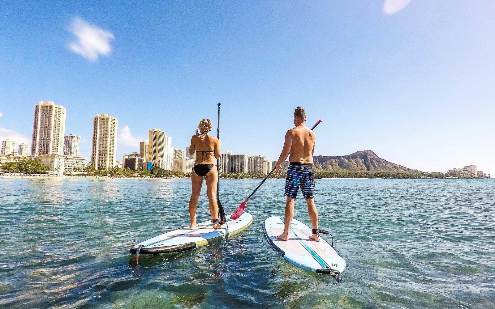 Paddle boarding with the Waikiki Parc Hotel