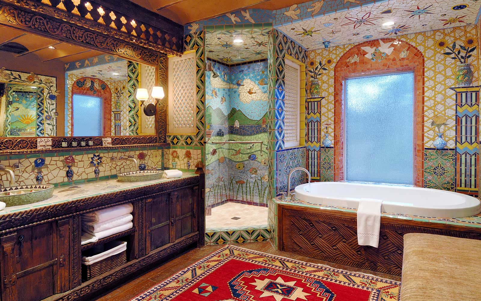 Mosaic tile bathroom at Inn of the Five Graces