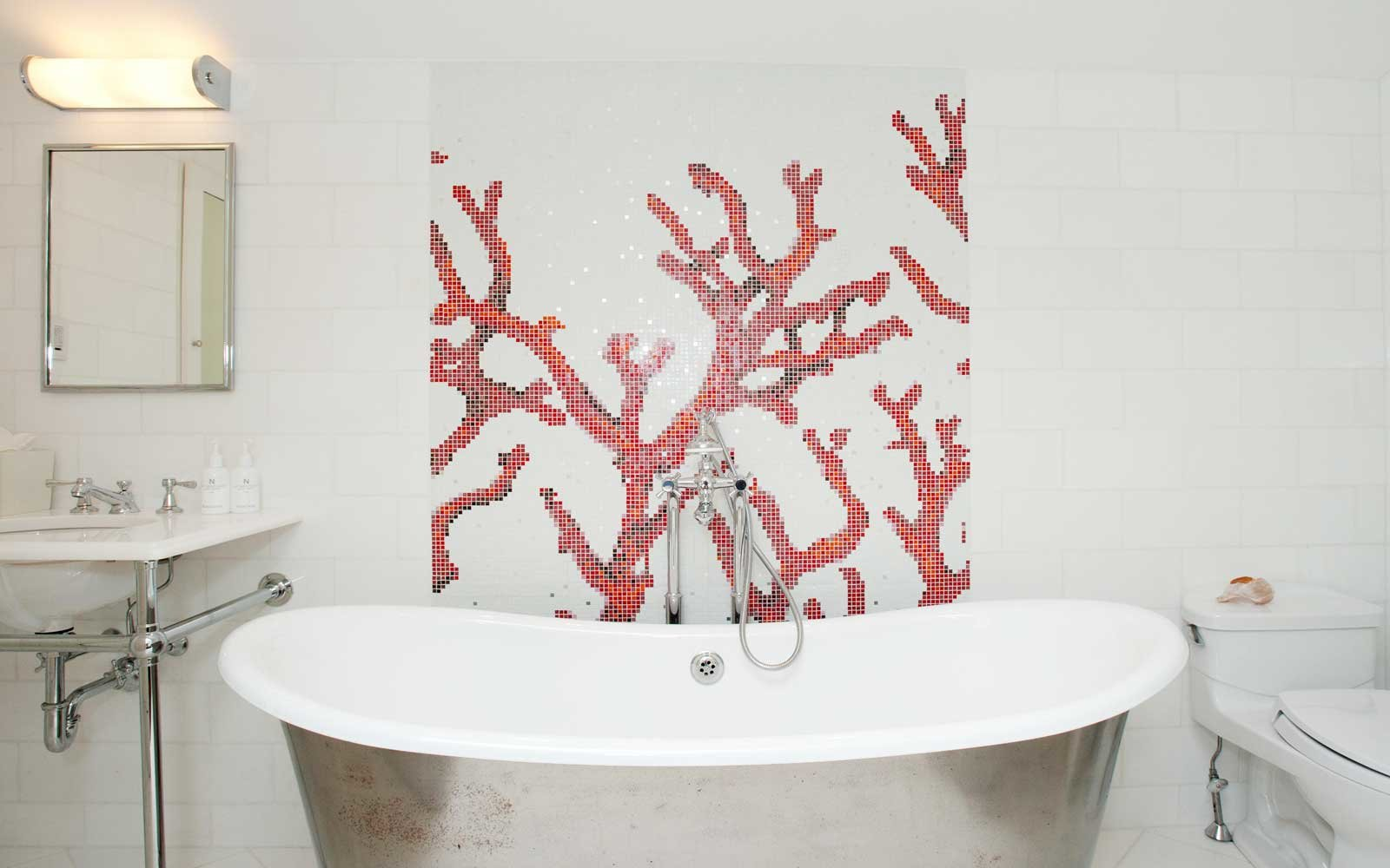 Bathroom with coral mosaic at the Nantucket Hotel