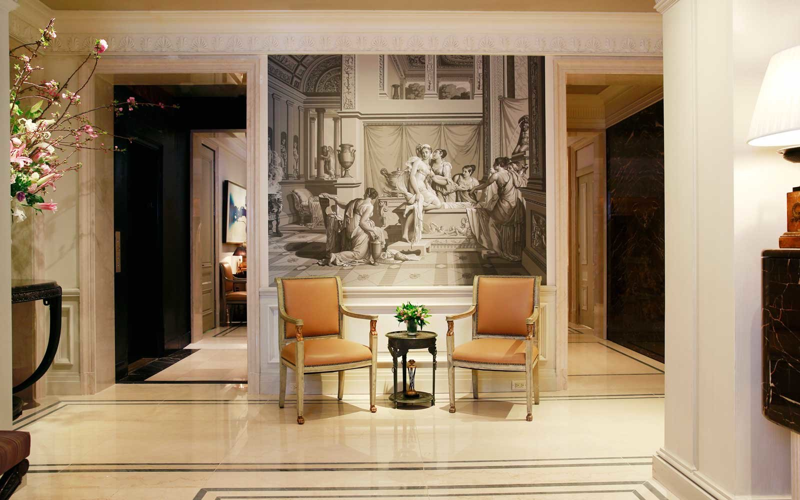 lobby and artwork at The Lowell