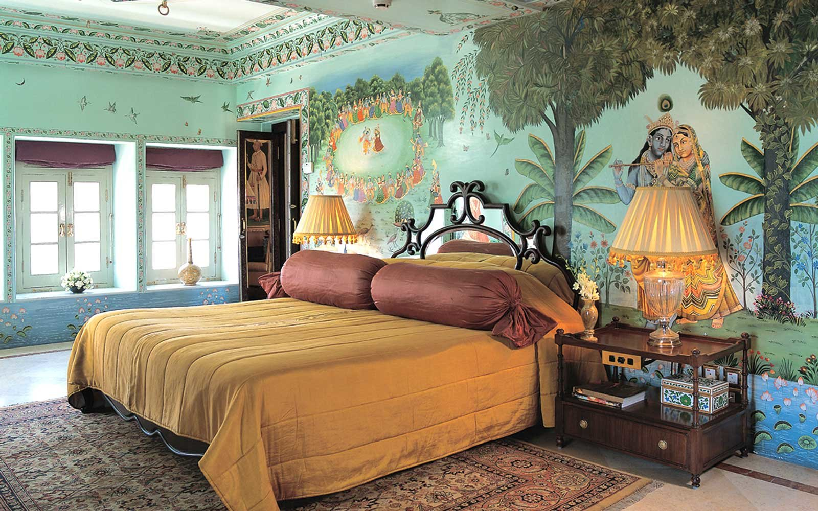 Bedroom at the Taj Lake Palace