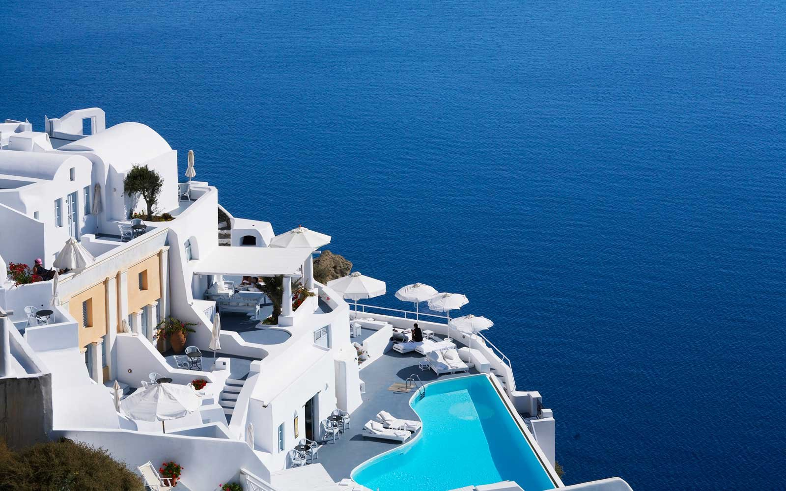 View of the Katikies Hotel in Santorini, Greece