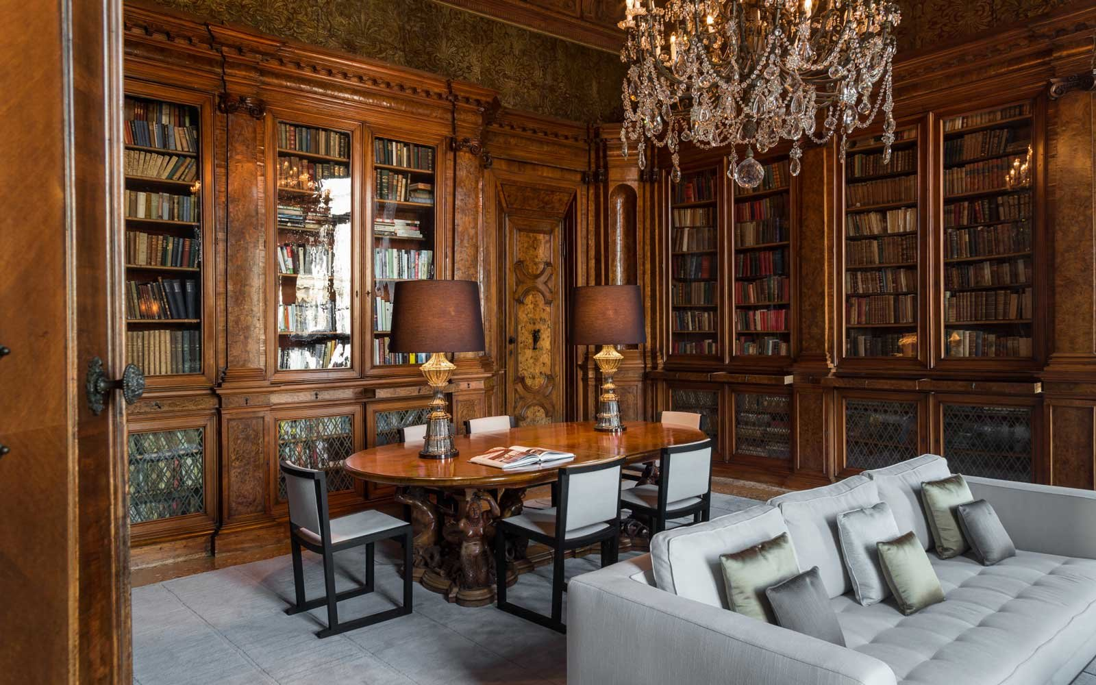 Library at the Aman Venice luxury hotel