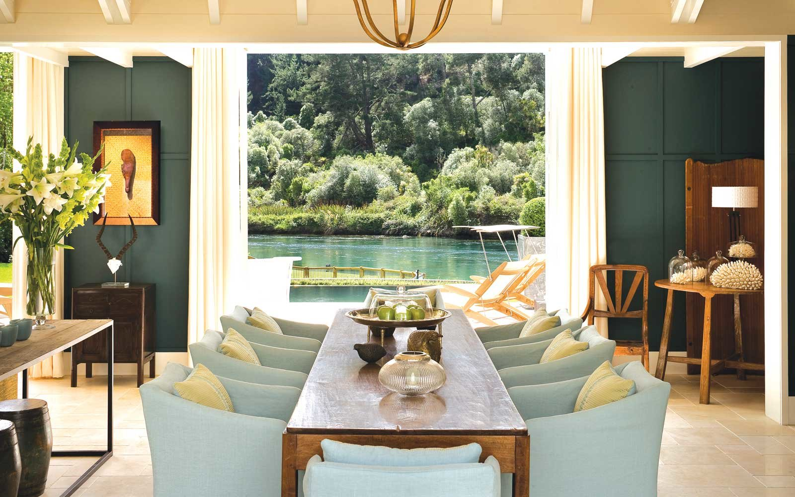 View of the river from the dining area at Huka Lodge