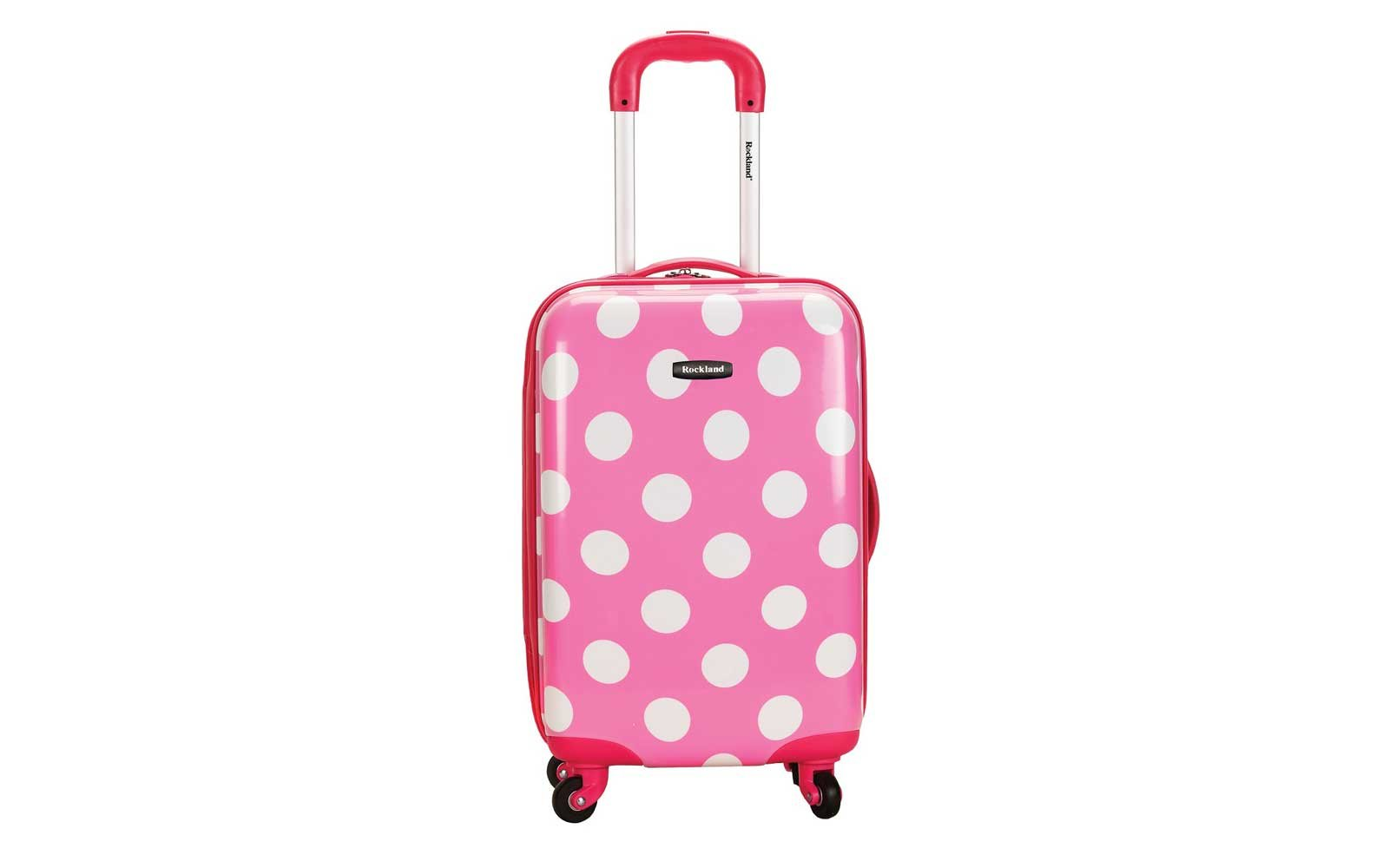 Rockland Reno Polycarbonate Carry-On in white polka dots and pink