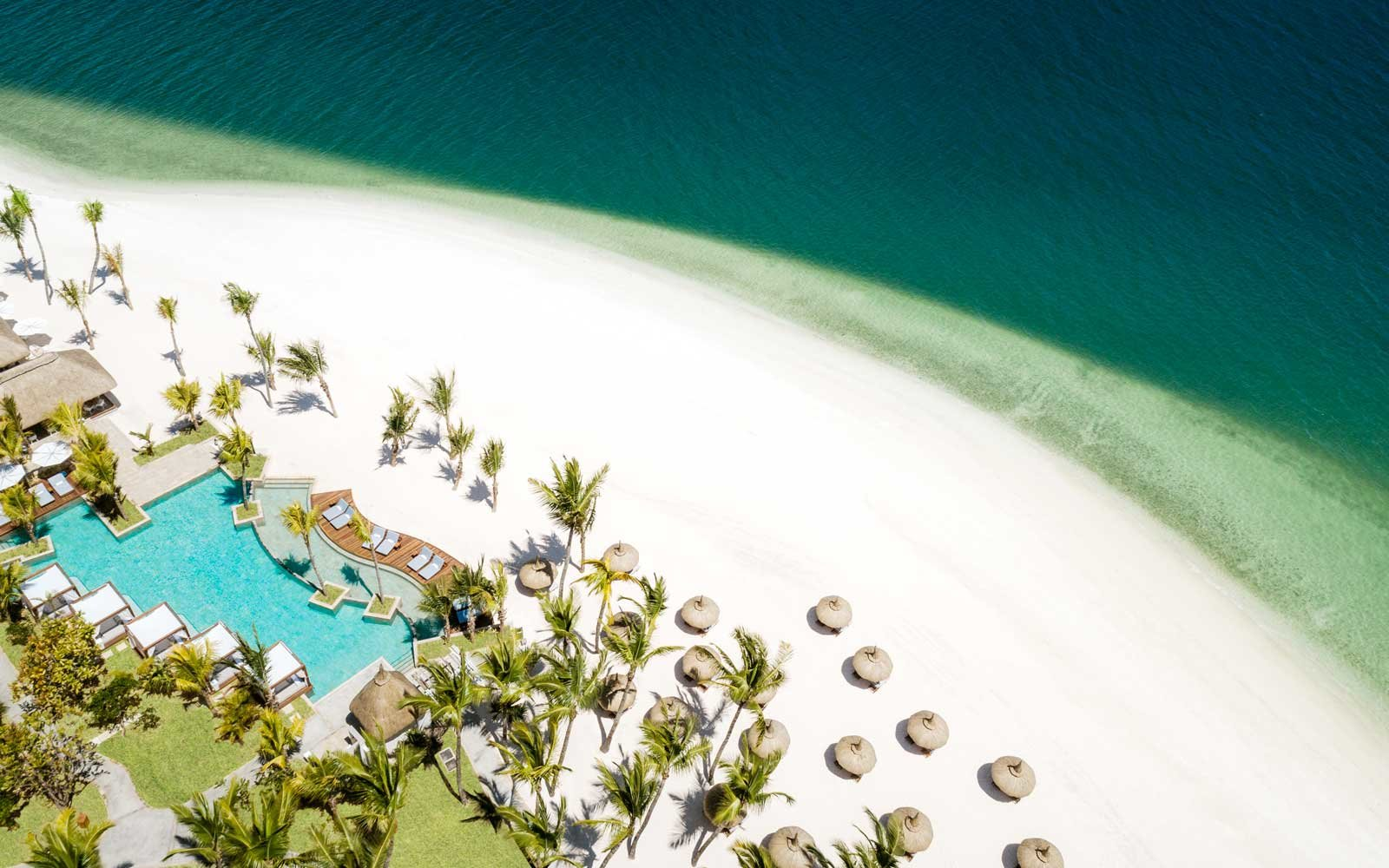 Aerial view of the One & Only Le Saint Geran resort, in Mauritius