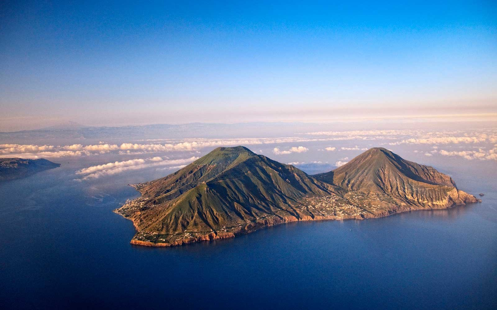 Aerial view of Salina, one of Italy's Aeolian Islands