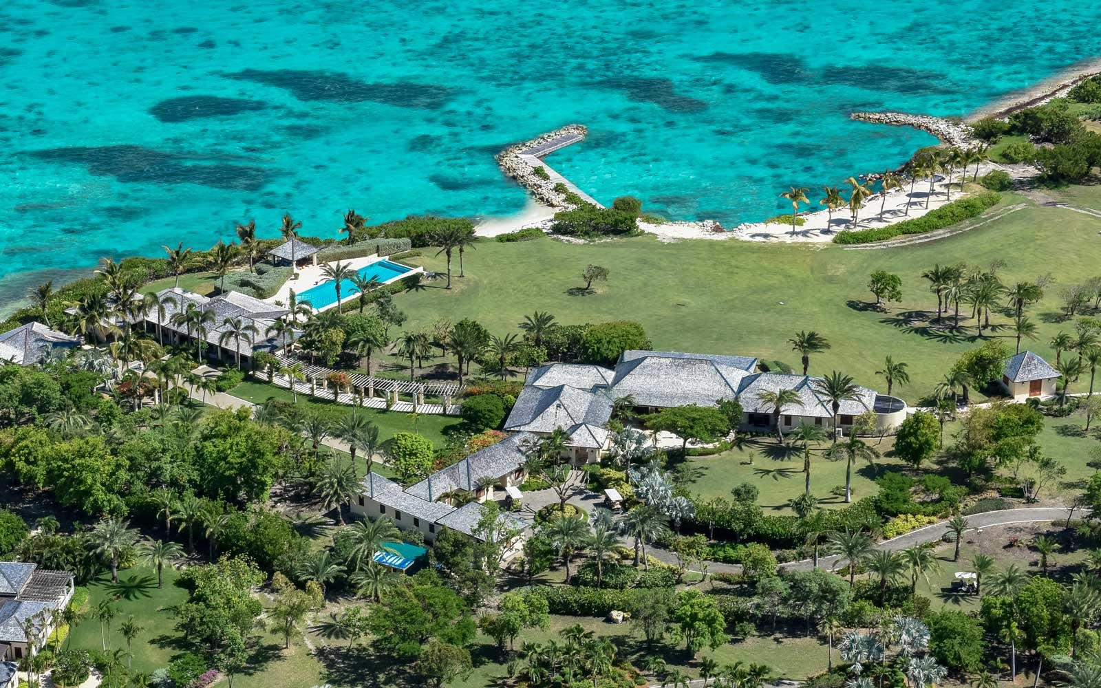 Aerial view of the Jumby Bay resort complex