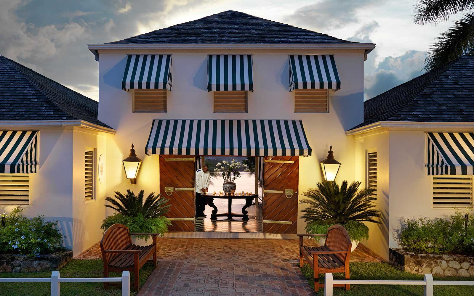 Exterior of Round Hill resort in Jamaica