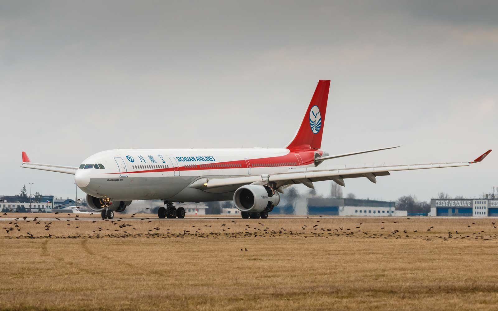 Sichuan Airlines plane on runway
