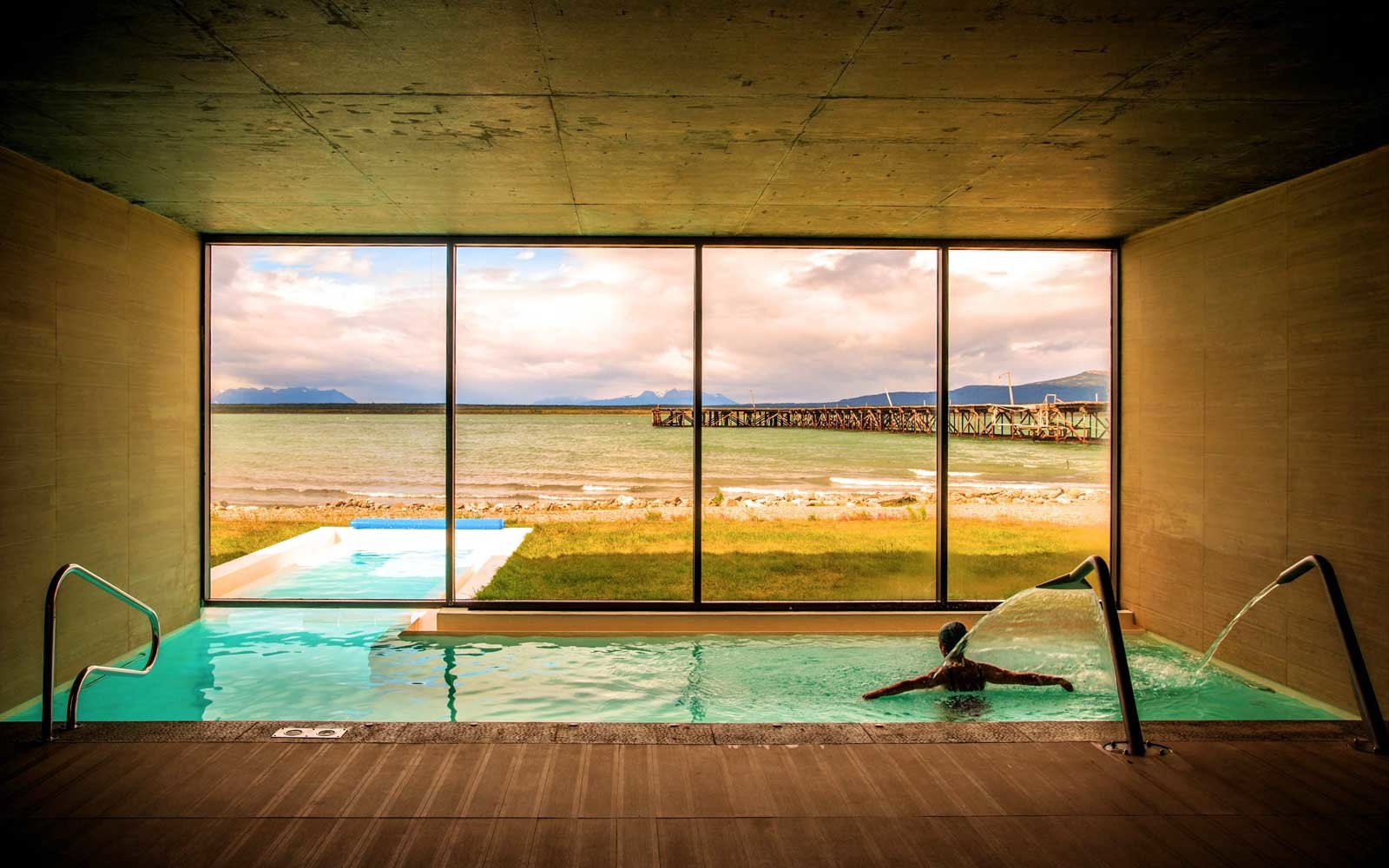Spa pool at the Singular Patagonia