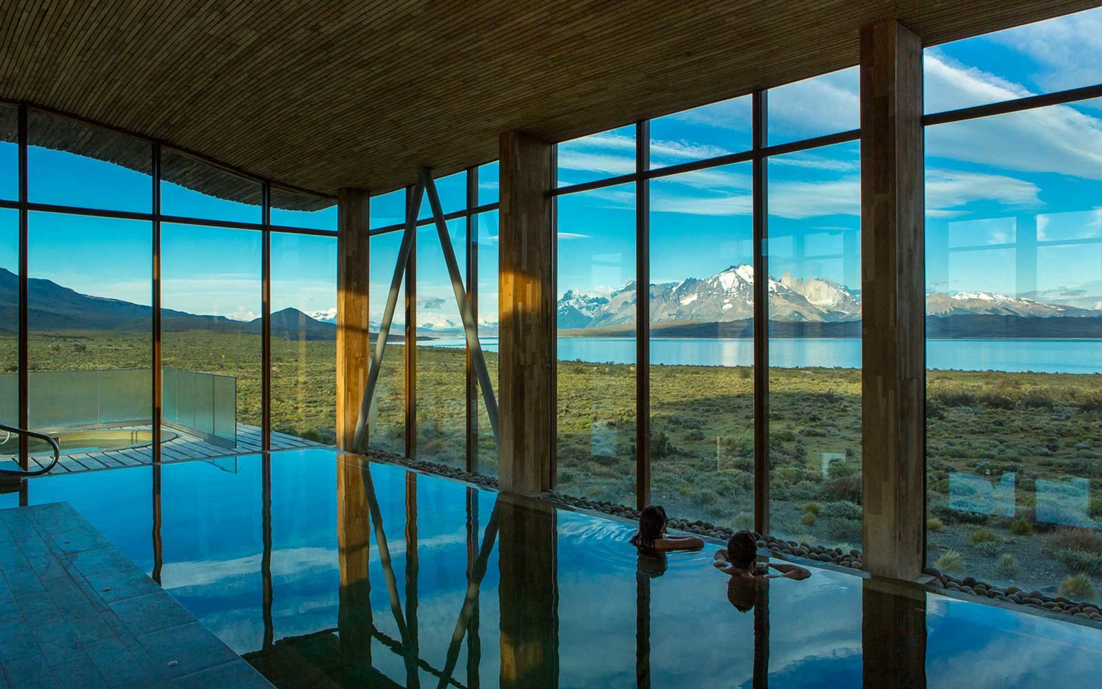 View from the spa pool at Tierra Patagonia