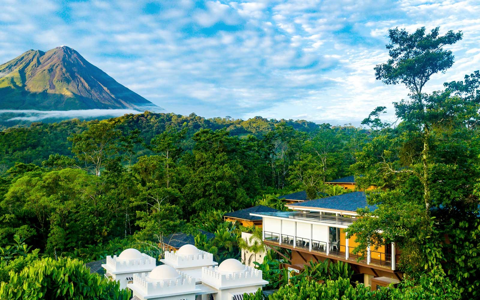 View of the Nayara Springs resort and the Arenal Volcano, in Costa Rica