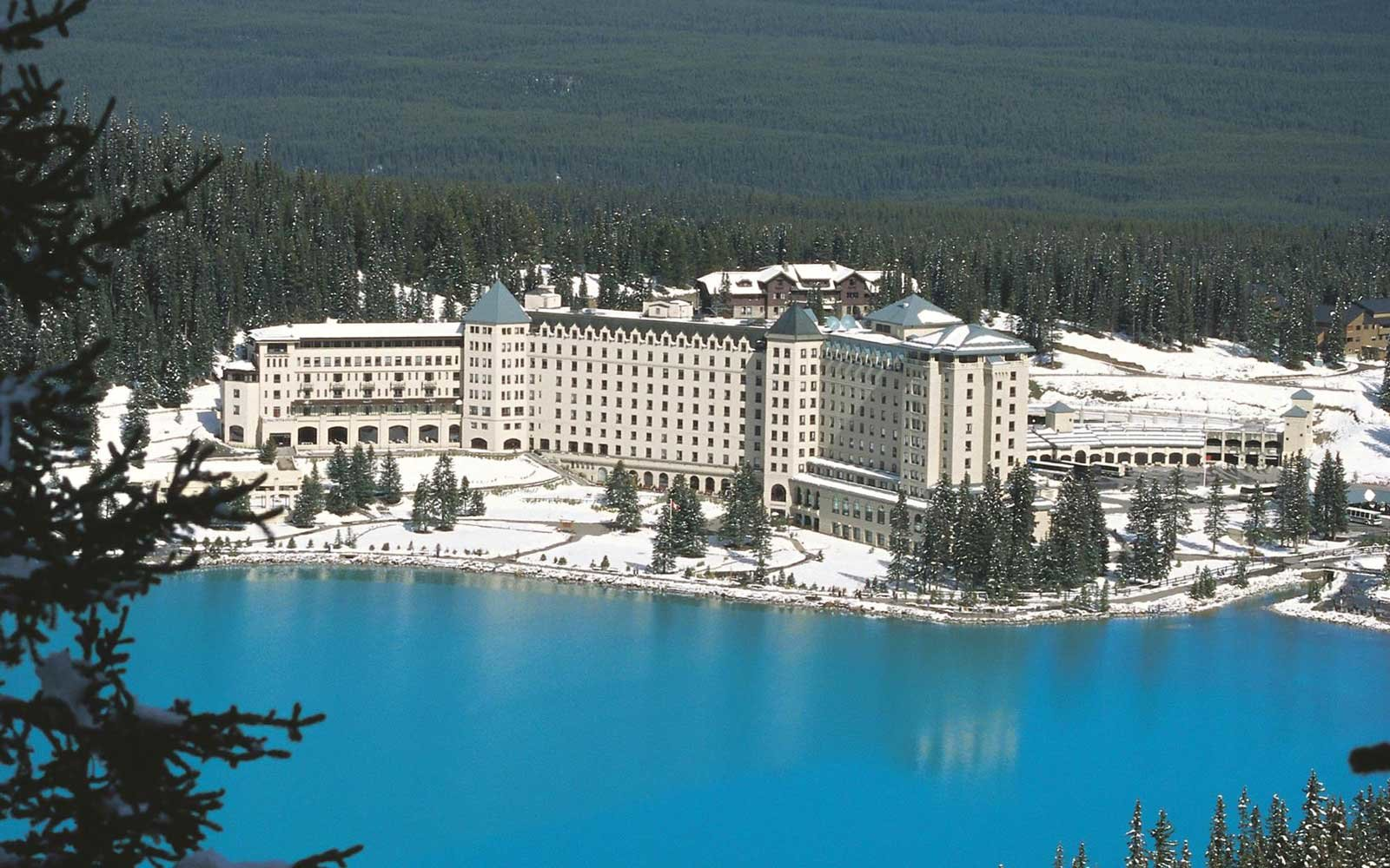 Aerial view of the Fairmont Lake Louise resort