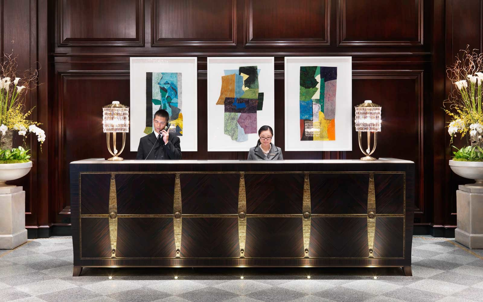 Front desk at the Rosewood Hotel Georgia