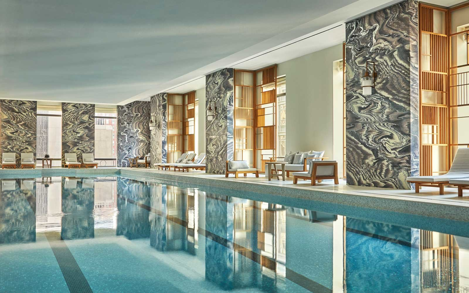 The 2018 worlds best hotels in new york city travel leisure pool at the four seasons hotel new york downtown sciox Gallery