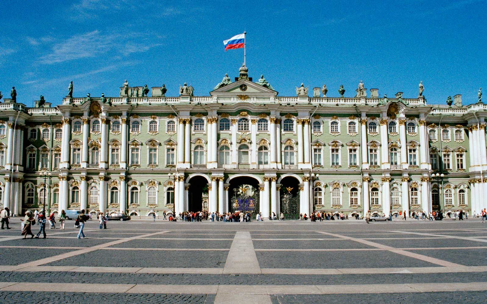 Facade of the Winter Palace of the Hermitage Museum, St. Petersburg, Russia