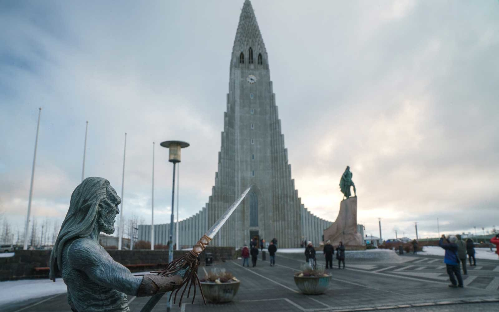 White Walker figure in front of Iceland's most famous church