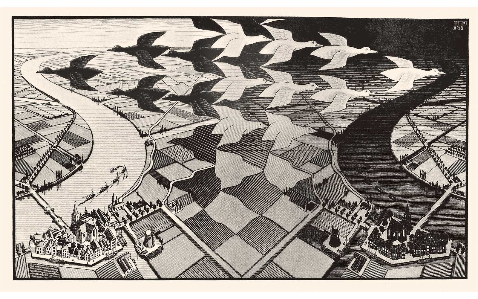 Day and Night, woodcut by M.C. Escher