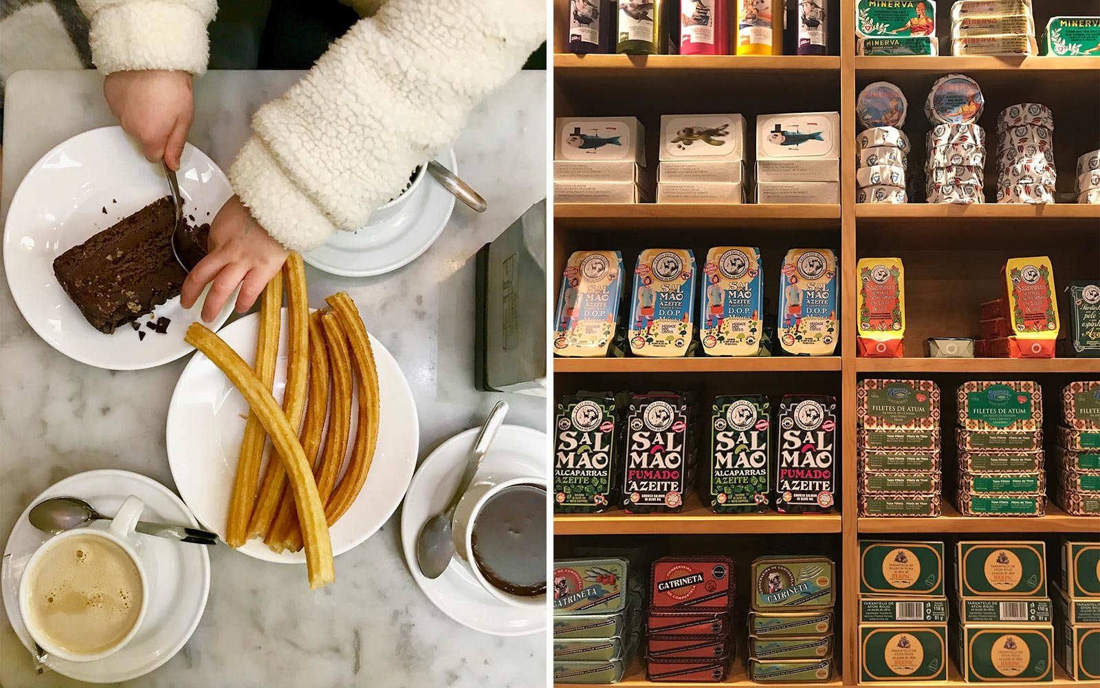 Churros at Chocolateria San Gines, and sardine tins at Salsamento tapas bar, in Spain