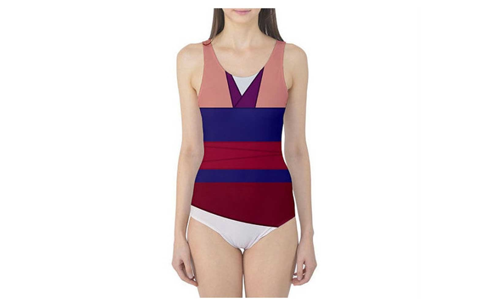 Pink Mulan Inspired One-Piece Swimsuit