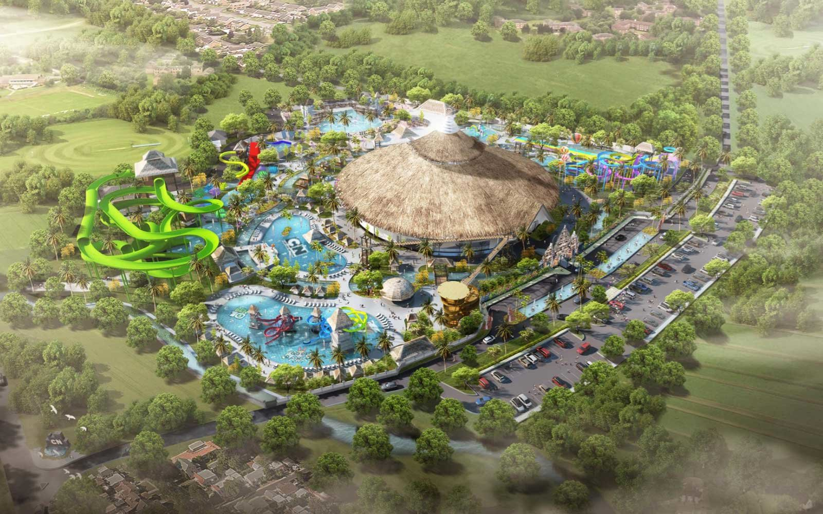 Artist concept of the Cartoon Network amusement park, coming to Bali in 2020