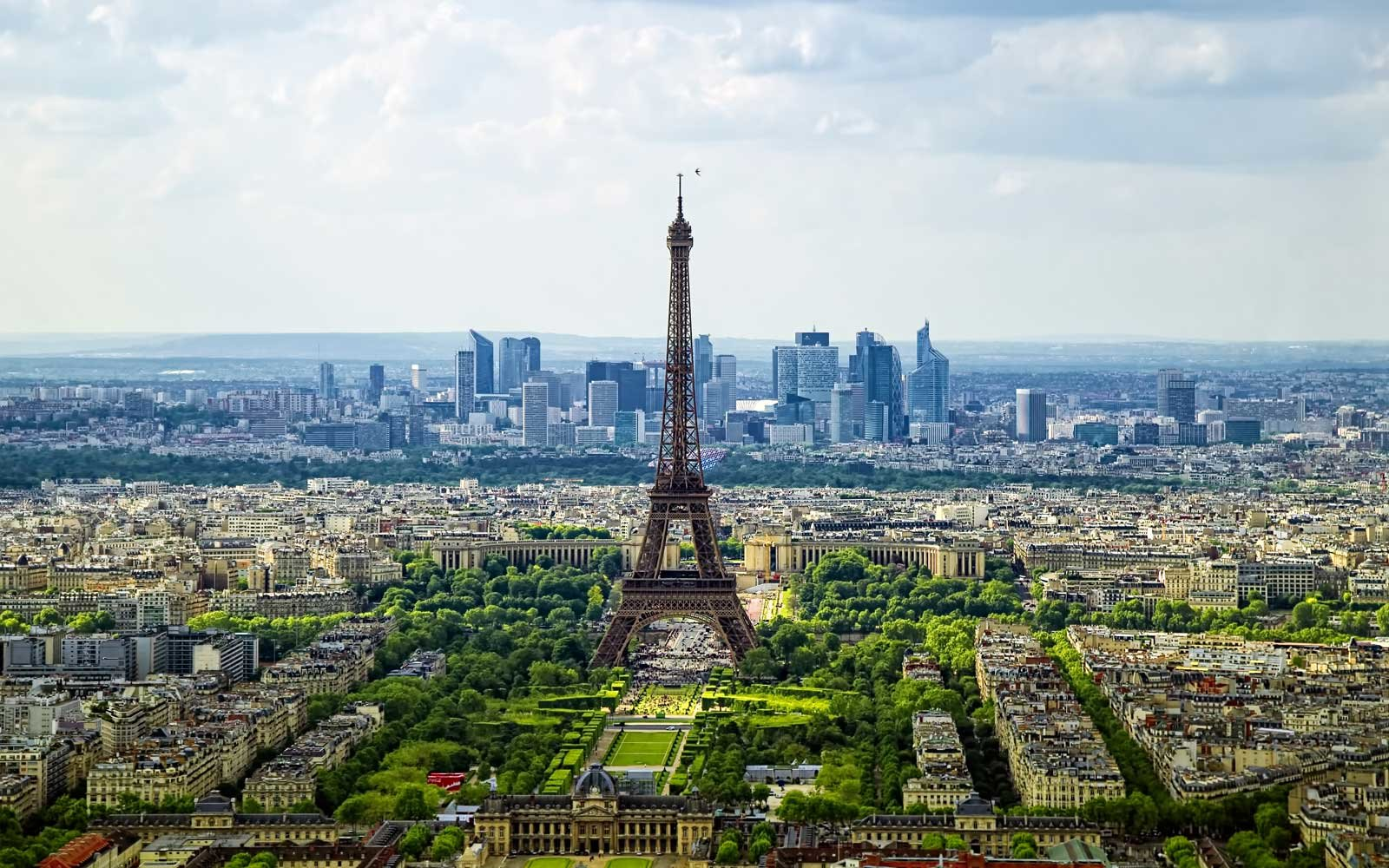 High angle view of Paris in the Spring