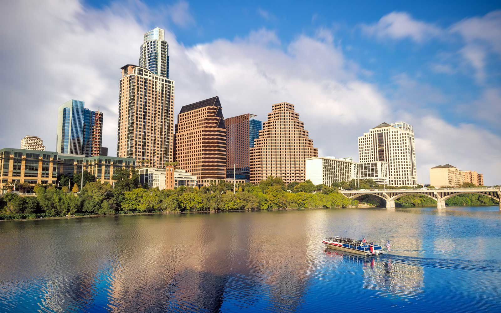 Kayaks on the water in Austin, Texas
