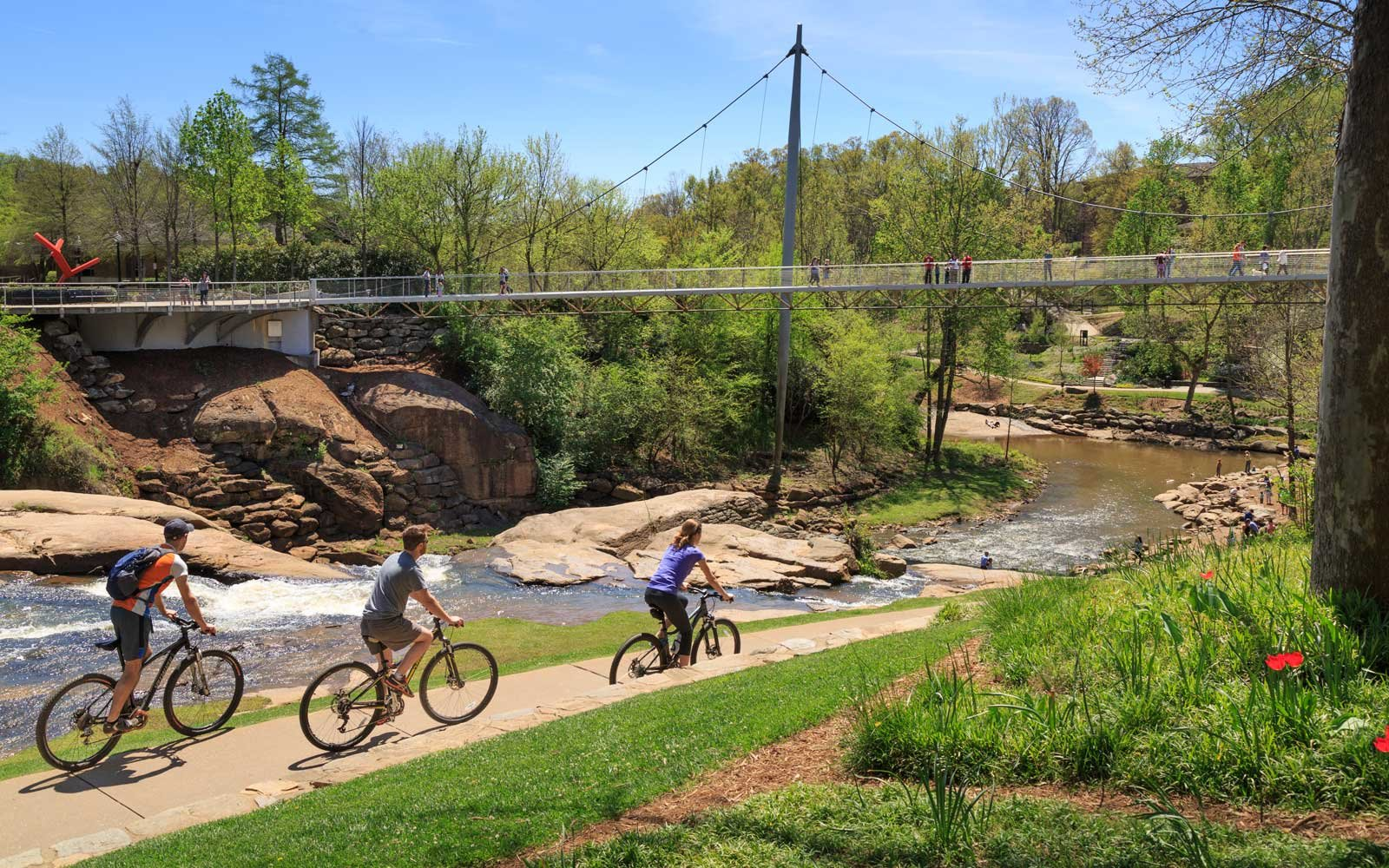 Liberty Bridge and Falls Park on the Reedy in Greenville, South Carolina