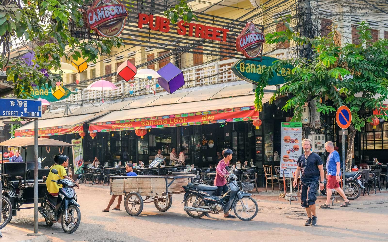 Lively street in Siem Reap, Cambodia