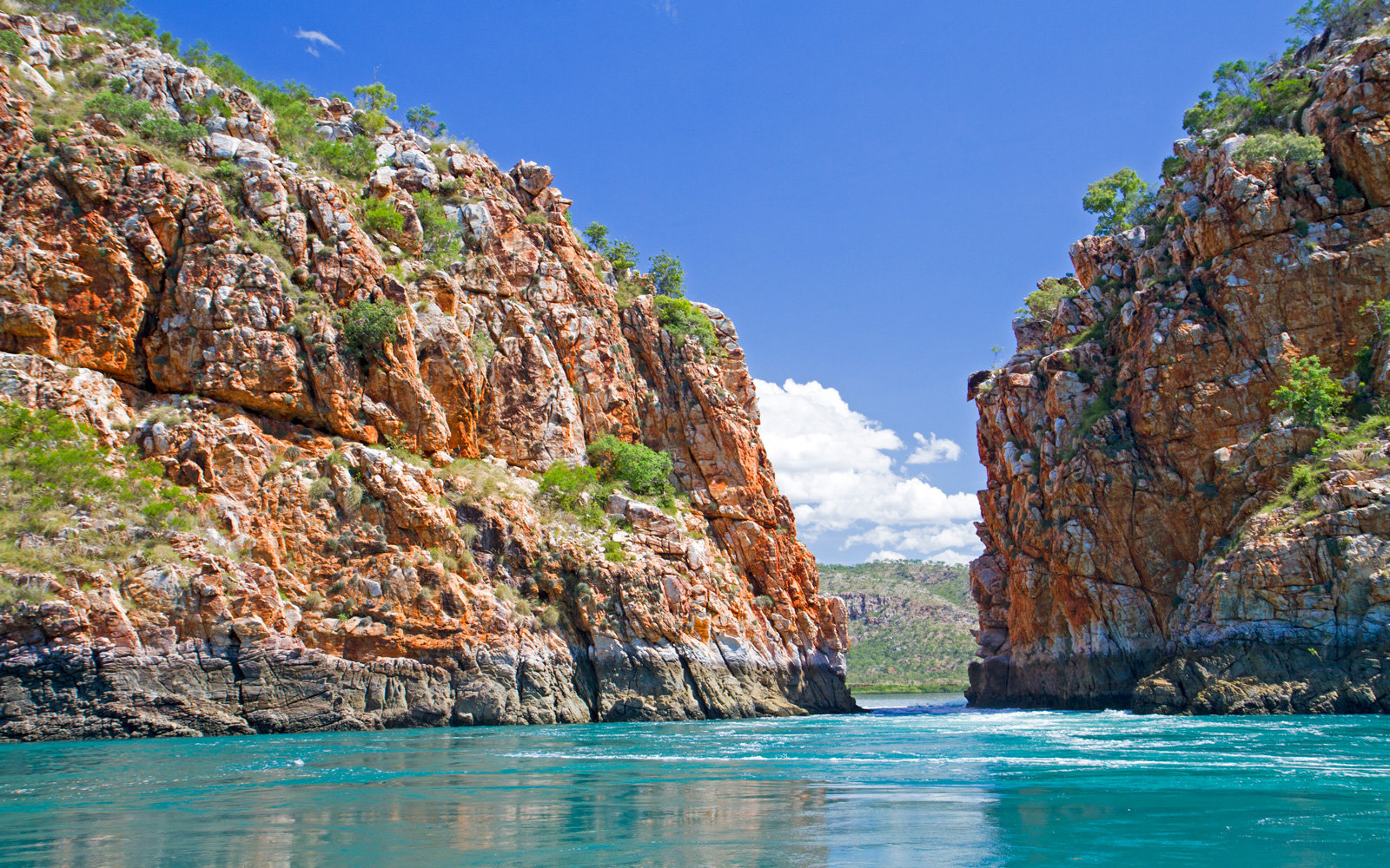 Horizontal Waterfalls, Western Australia, Australia, 04/06/2017: The famous Horizontal Waterfalls, where tides up to 13 metres in height squeeze through two narrow gorges in Talbot Bay in Australia's Kimberley region.