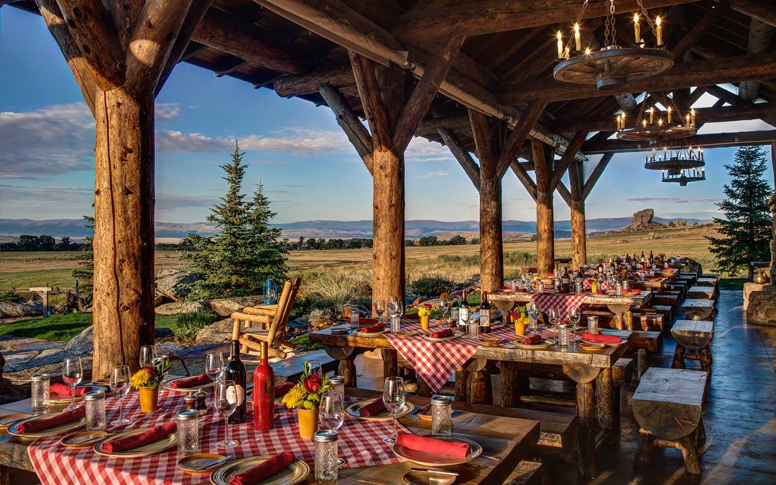 Chuckwagon setup at The Lodge & Spa at Brush Creek Ranch