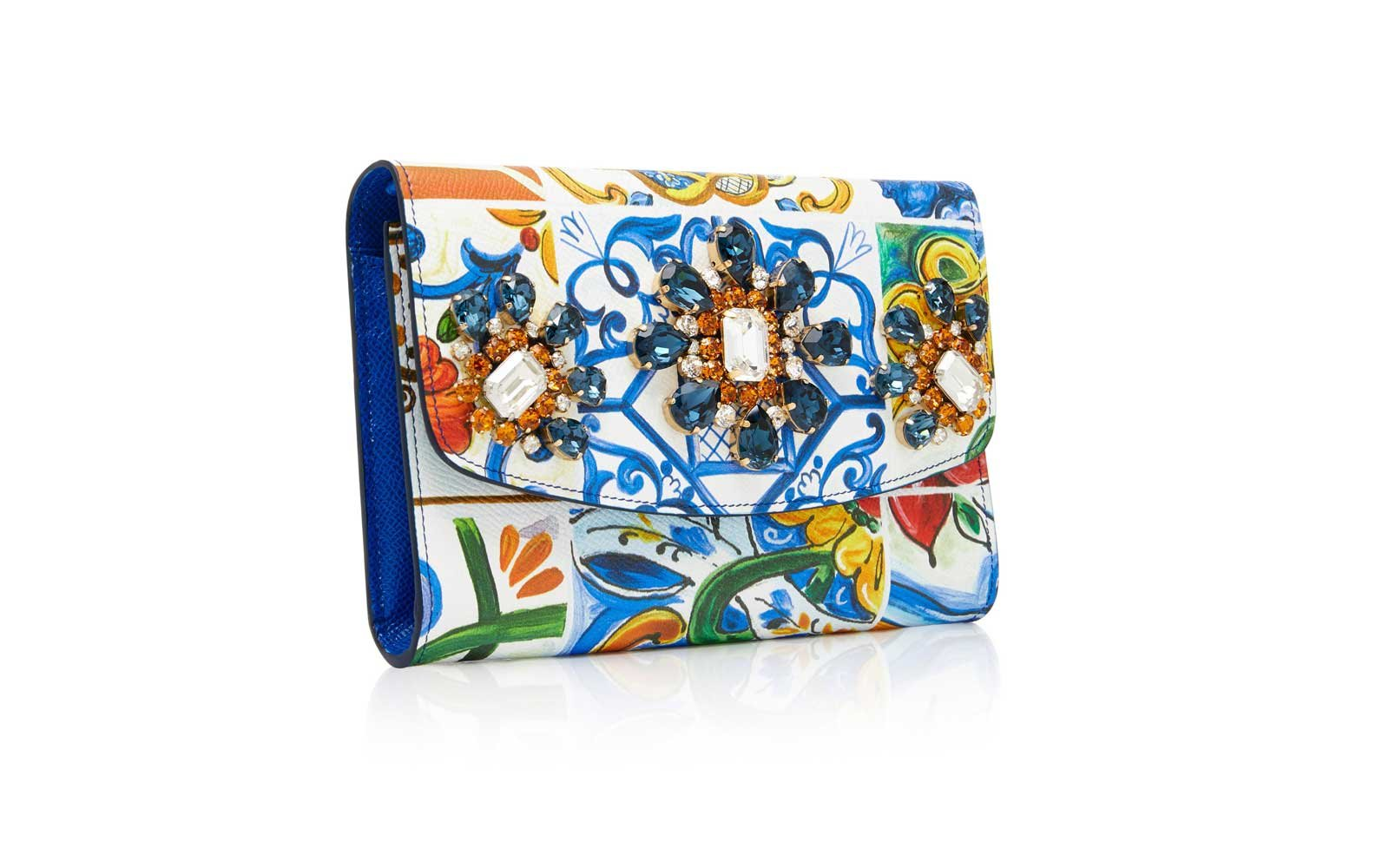 Dolce & Gabbana Crystal-Embellished Printed Leather Wallet Bag