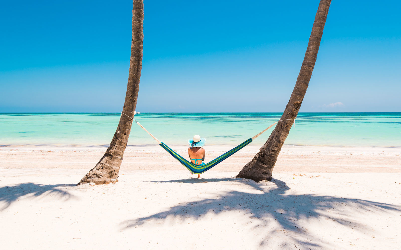A traveler sits on a tropical beach.