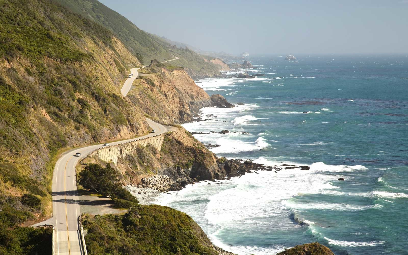 Aerial view of the Highway 1 at big sur, California