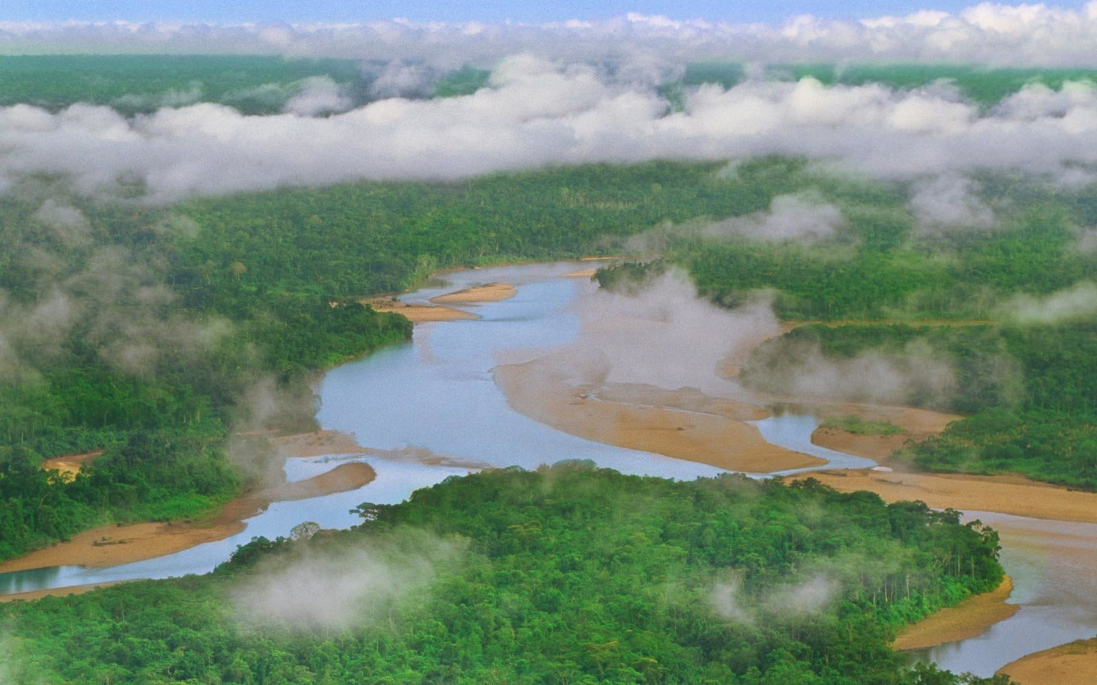Tambopata river winding through lowland rainforest, Tambopata National Reserve, Peru