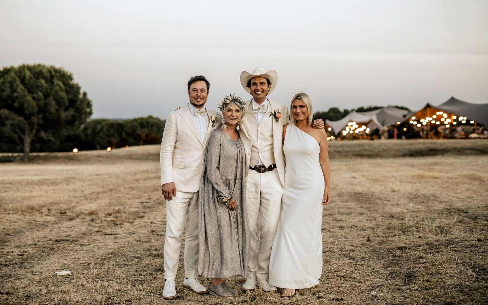 Maye Musk, Elon Musk, and family at a wedding