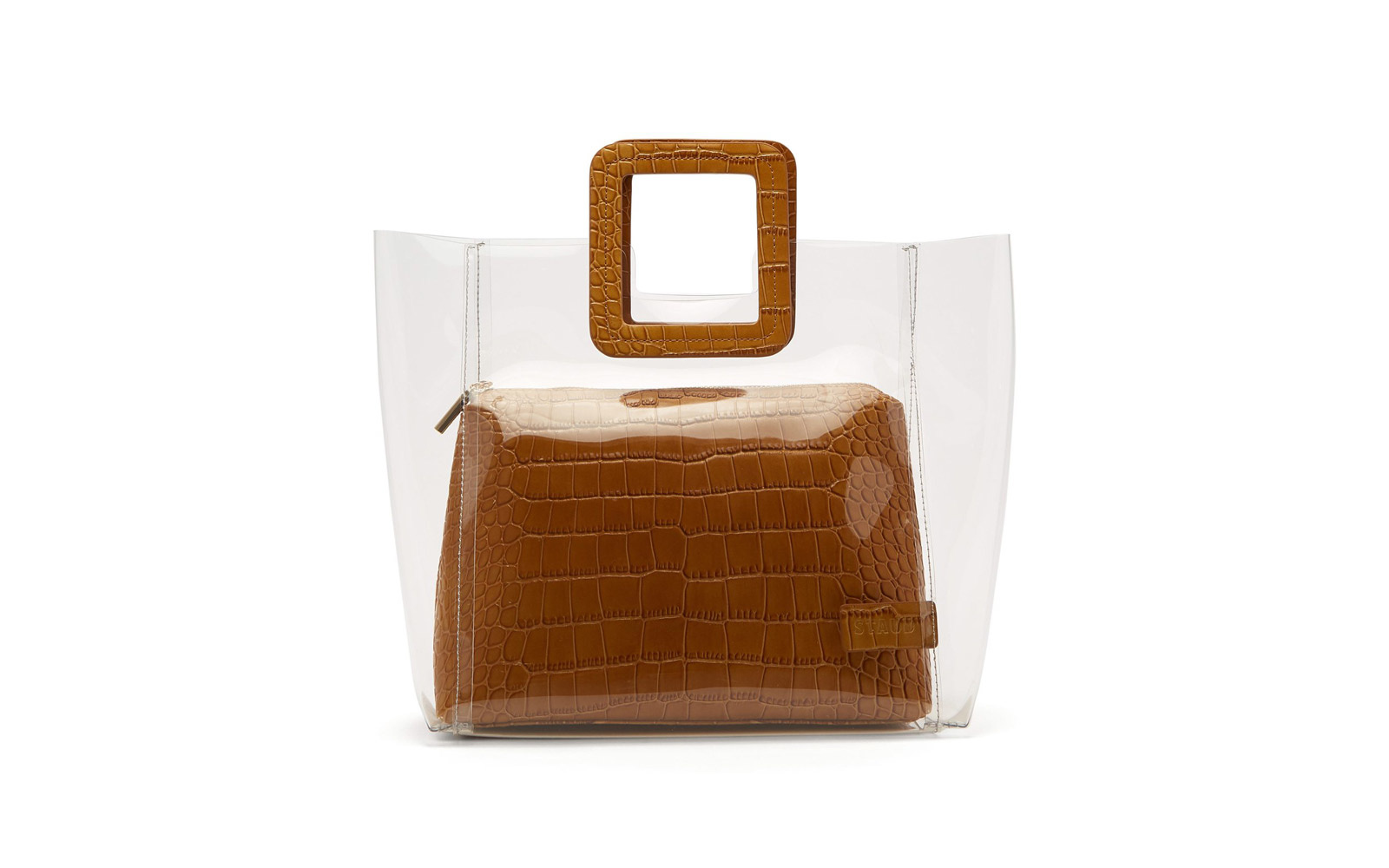 Staud Shirley PVC and Crocodile-effect Leather Tote