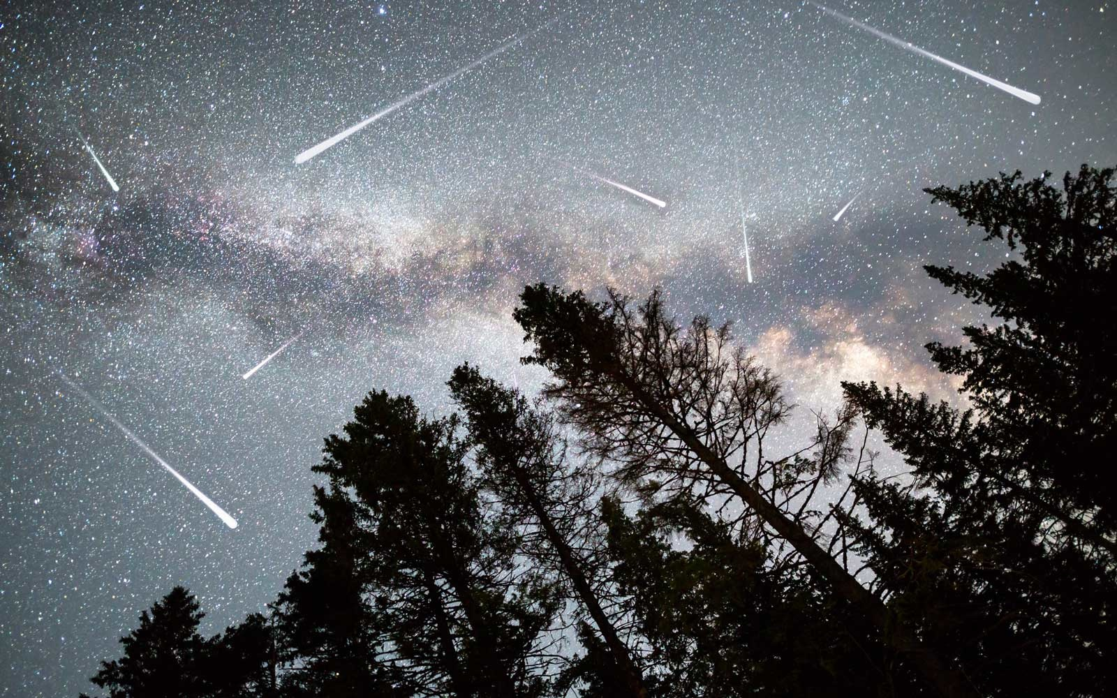 Meteor Shower and the Milky Way