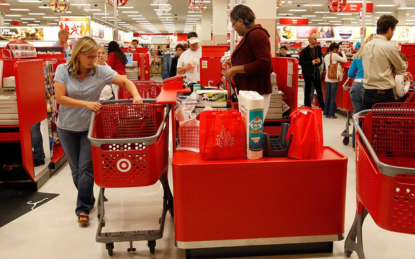 Shoppers in the check out line of the Target Store in the new Westfield Shopping Mall in Culver City
