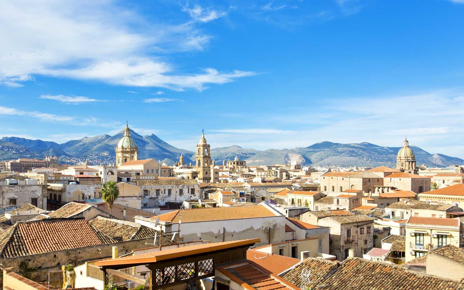Panorama of the city of Palermo, view of the old town