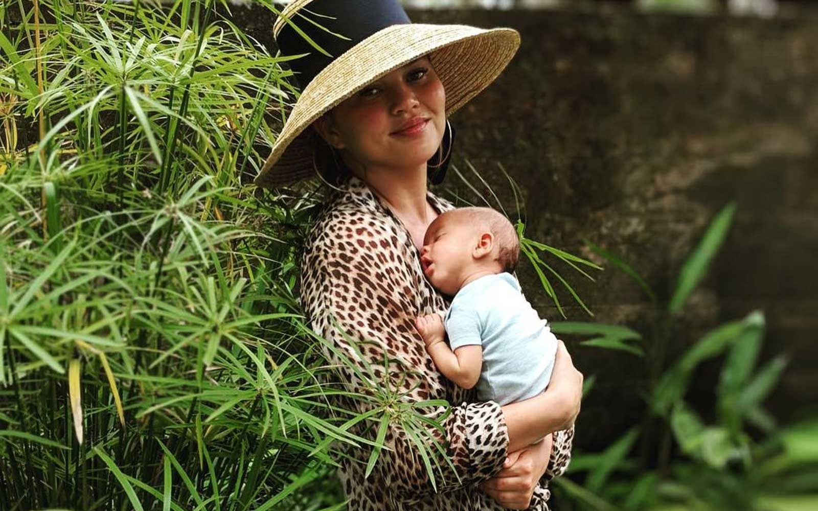 Chrissy Teigen and baby Miles Legend on vacation