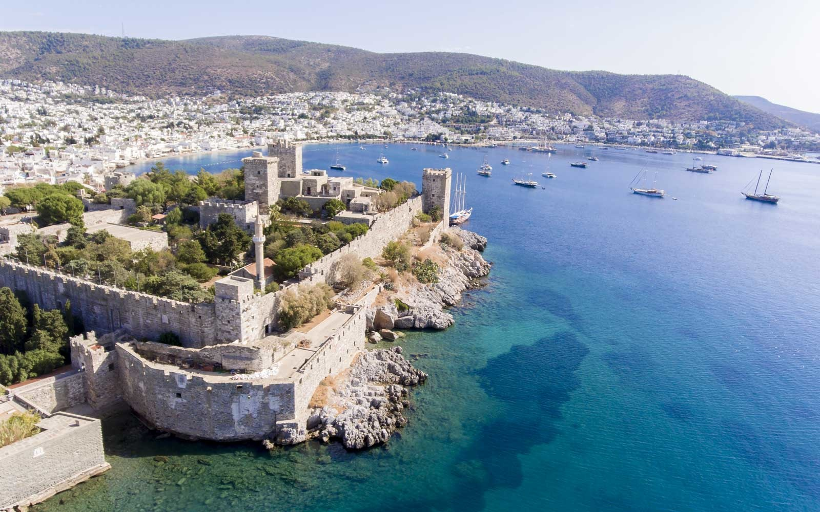 Aerial view of Bodrum on Turkish Riviera, Turkey