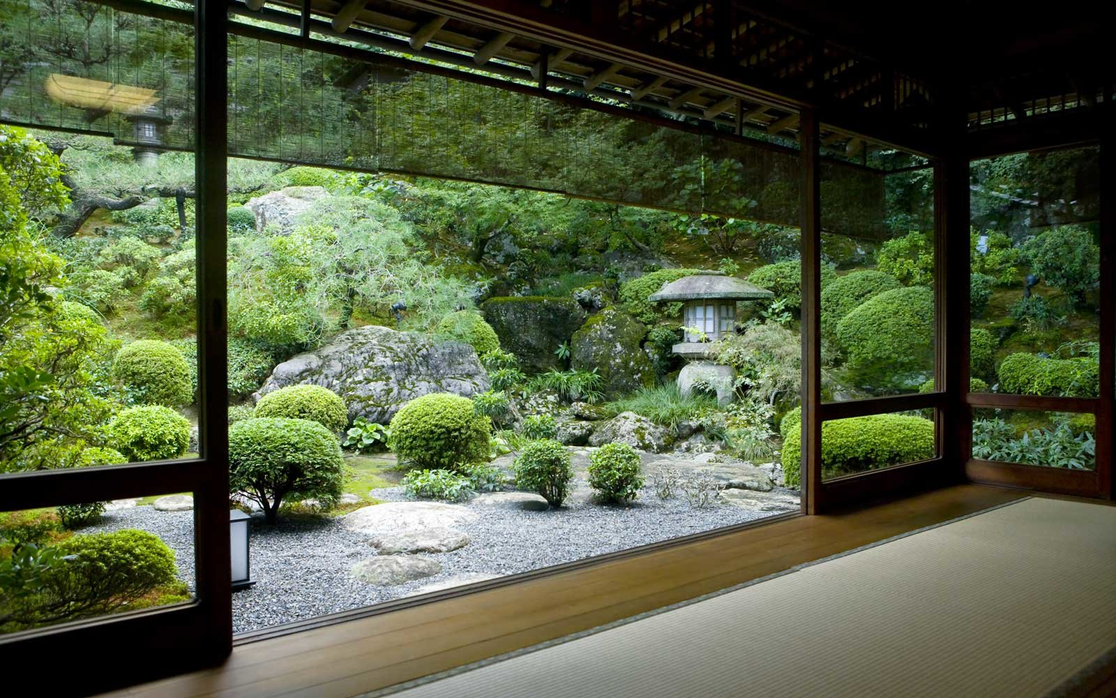 Japanese garden seen from inside a traditional tatami room, Kyoto