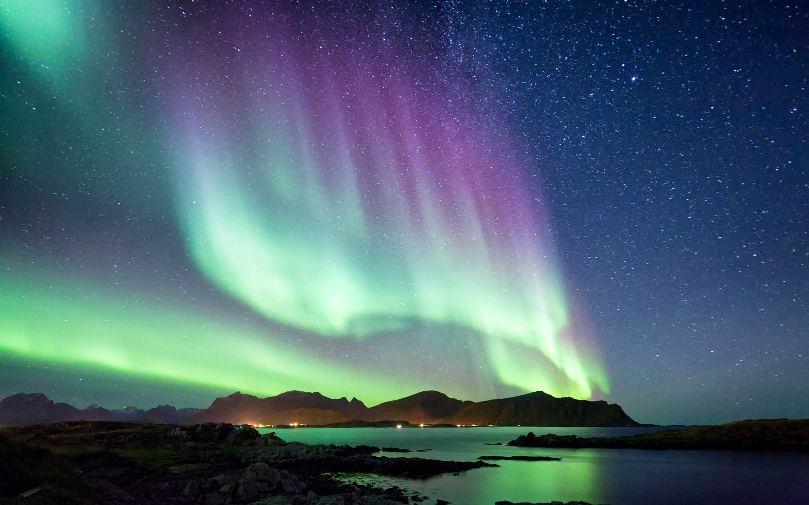 View of the Northern Lights in Lofoten Islands, Norway