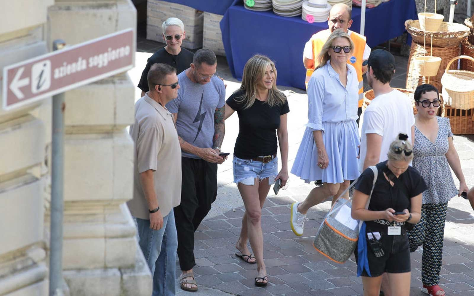 Jennifer Aniston is seen on set filming 'Murder Mystery' on July 30, 2018 in Como, Italy.