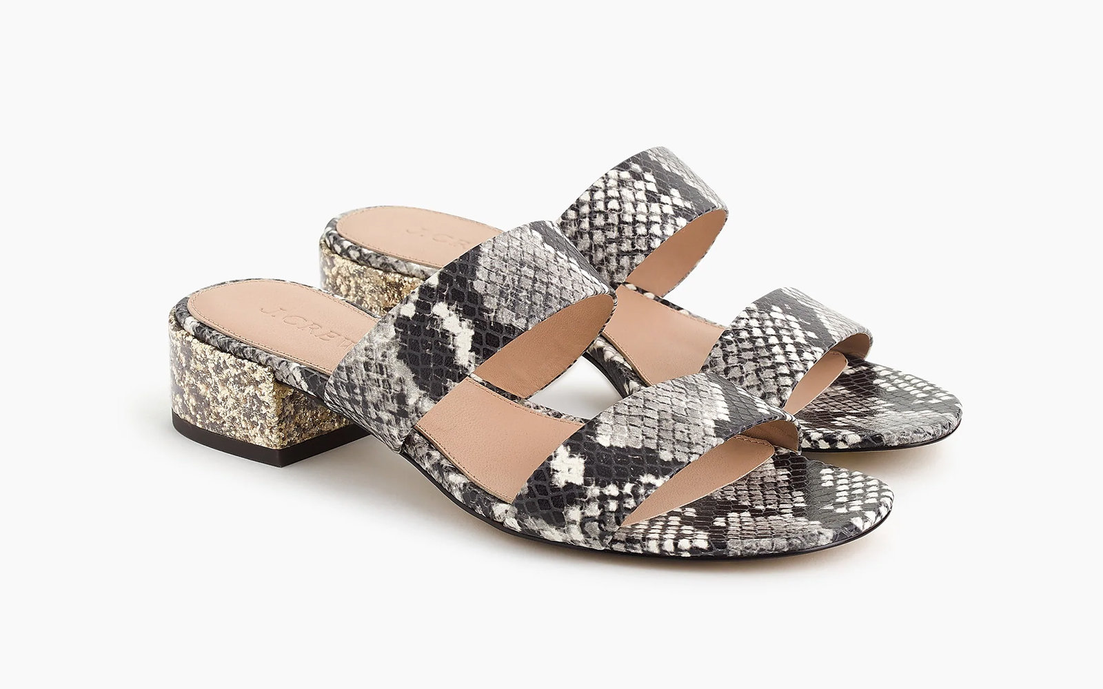 7fce3c1ffc8baa Double-strap Leather Slides in Faux-snakeskin. J.Crew Midsummer Sandals Sale
