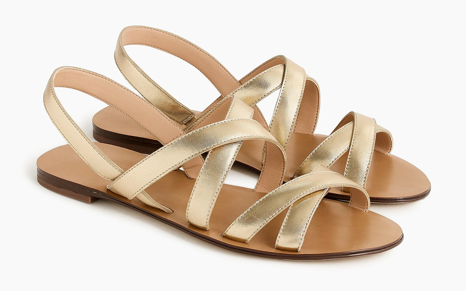 Cross-strap Sandals in Metallic Gold Leather