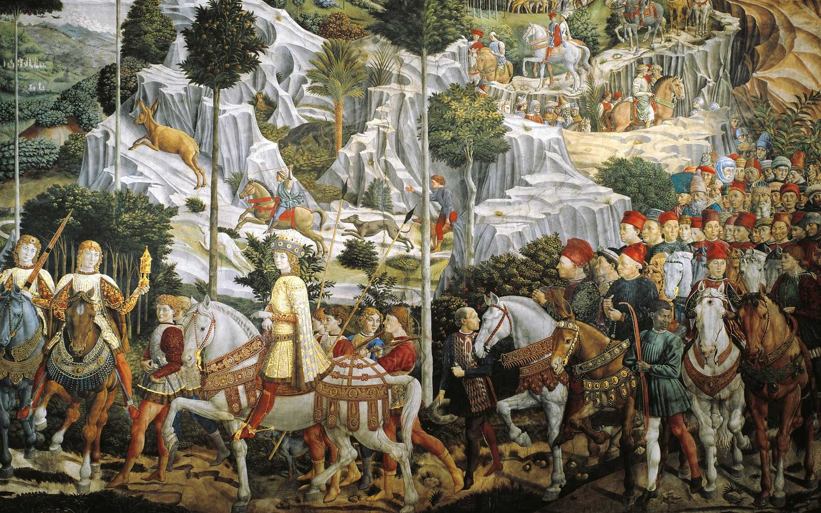 Procession of Magi Kings to Bethlehem, by Benozzo Gozzoli, Chapel of Palazzo Medici Riccardi, Florence, Italy