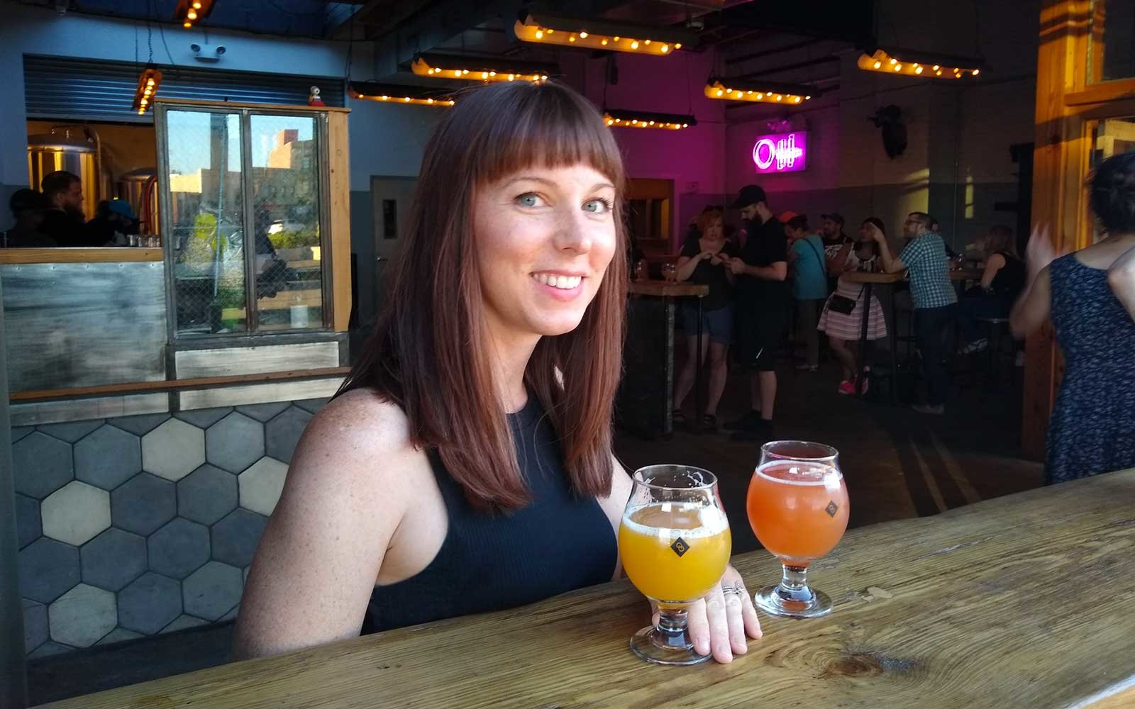Christine Bower-Wright at Other Half Brewing Co, in Brooklyn, New York